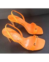 Louis Vuitton - Pre-owned Orange Leather Sandals - Lyst