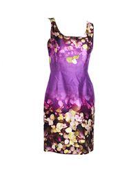 Oscar de la Renta Purple Seide Midi Kleid