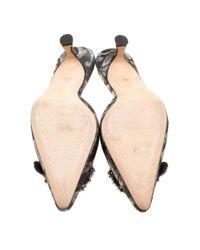Manolo Blahnik Black Hangisi Leder Pantoffeln