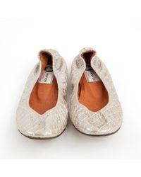 Lanvin - Metallic Leather Ballet Flats - Lyst