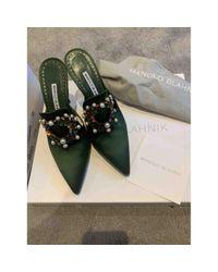 Sandales \N en Toile Vert Manolo Blahnik en coloris Green