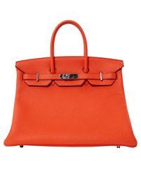 Hermès Orange Birkin 35 Leder Handtaschen