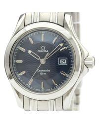 Reloj en acero azul Seamaster Omega de color Blue