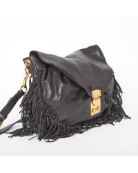 Bolsa de mano en cuero negro \N Miu Miu de color Black
