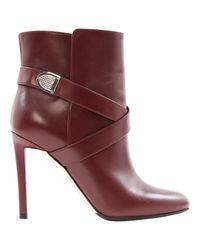 Dior Purple Burgundy Leather Boots