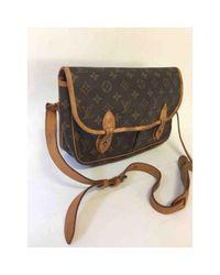 Louis Vuitton Gibeciere Brown Cloth Handbag