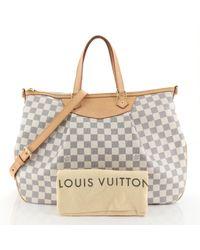 Borsa a mano in tela bianco Siracusa di Louis Vuitton in White