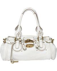 Chloé White Paddington Leather Handbag