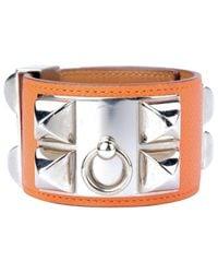 Pulsera en cuero naranja Collier de chien Hermès de color Orange