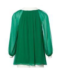 Diane von Furstenberg Green Silk Blouse