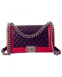 Chanel Purple Leather Handbag Boy