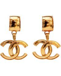 Pendientes en metal dorado CC Chanel de color Multicolor