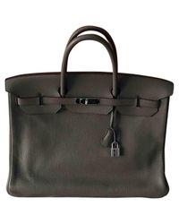 Hermès Gray Pre-owned Birkin 40 Grey Leather Handbags