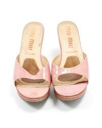 Miu Miu Pink Patent Leather Sandals