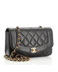 Chanel Black Diana Leder Handtaschen