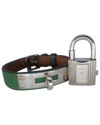 Reloj en plata verde Kelly Hermès de color Green