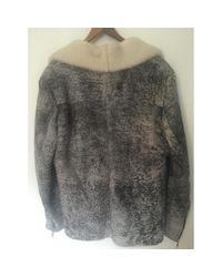 Sandro Gray Grey Leather Coat