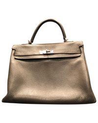 Hermès Gray Kelly Leather Handbag
