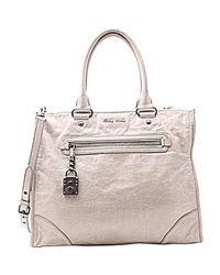 Miu Miu Gray Grey Leather
