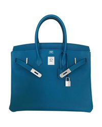 Hermès Blue Birkin Leather Tote