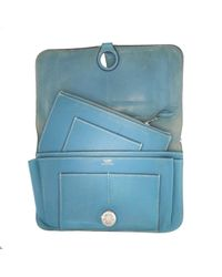 Hermès Blue Dogon Leder Portemonnaies