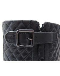 Chanel Black Leder Motorradstiefel