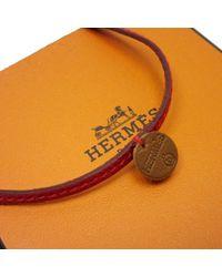 Collar en cuero Hermès de color Red