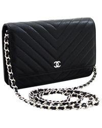 Chanel Black Wallet On Chain Leder Handtaschen