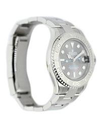 Reloj en platino plateado Yacht-Master Rolex de hombre de color Metallic