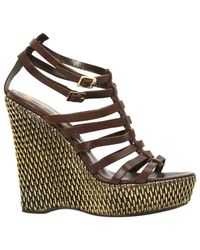 Roberto Cavalli - Brown Leather Sandals - Lyst