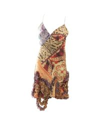 Roberto Cavalli Brown \n Multicolour Silk Dress
