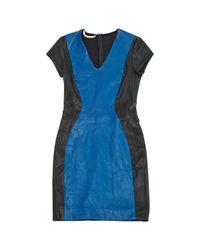 Diane von Furstenberg Blue Leder Midi Kleid