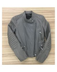 Barbara Bui Gray \n Khaki Leather Leather Jacket