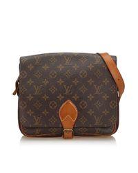 Bolsa de mano en lona marrón Cartouchière Louis Vuitton de color Brown
