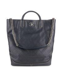Chanel Gray Leder Shopper