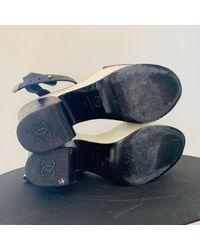Chanel Black Leder Sandalen