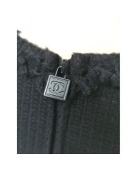 Chanel Black Wolle Mini kleid