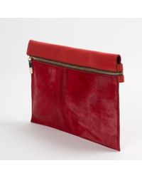 Victoria Beckham Pre-owned Red Pony-style Calfskin Clutch Bags