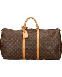Louis Vuitton Brown Keepall Leinen Reisetaschen