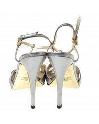 Valentino Metallic Leder Sandalen