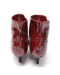 Lanvin Red Lackleder Stiefeletten