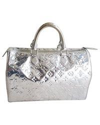 Louis Vuitton Metallic Pre-owned Speedy Patent Leather Handbag