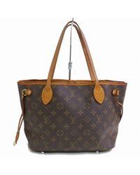 Louis Vuitton Black Neverfull Leinen Shopper