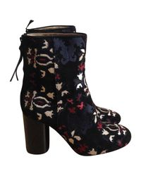Isabel Marant - Black Embroidered Velvet Booties W/ Tags - Lyst