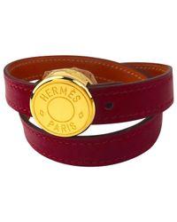 Hermès - Red Clou De Selle Leather Bracelet - Lyst