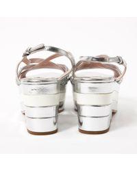 Miu Miu Metallic \n Silver Leather Sandals