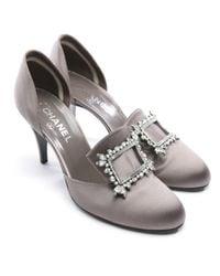 Chanel Gray Leinen Pumps