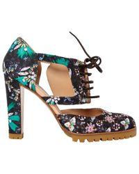 Scarpe col tacco in tela multicolore di Gianvito Rossi