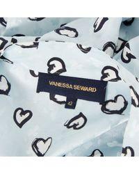 Vanessa Seward Blue Silk Top