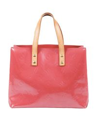 Louis Vuitton Red Reade Lackleder Shopper